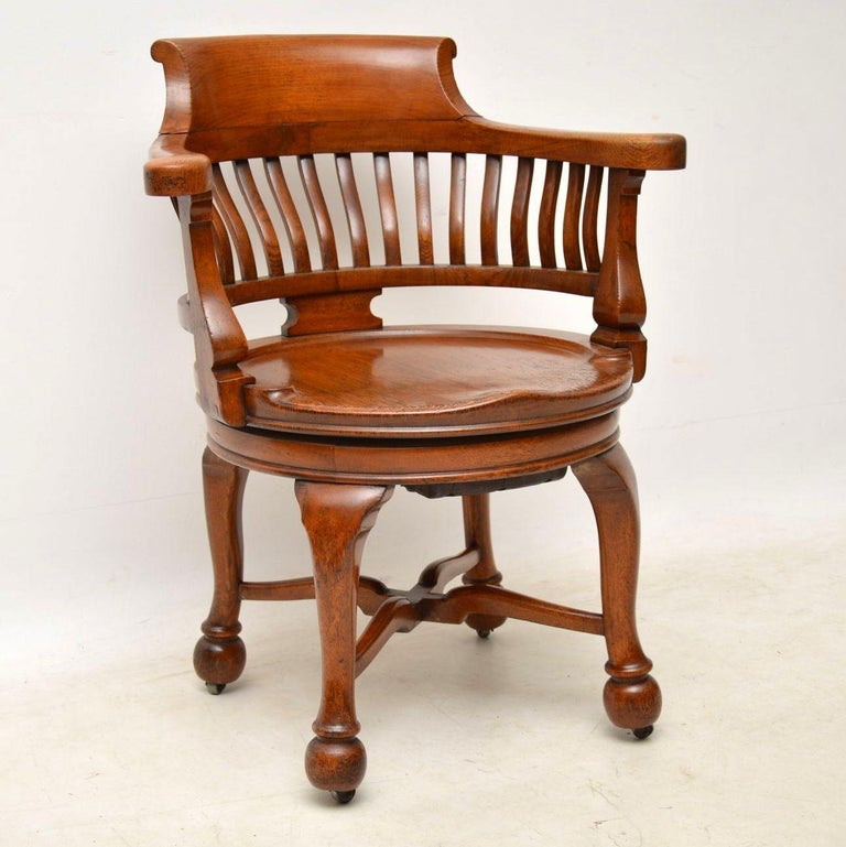 Strong looking antique Victorian swivel desk chair in good original  condition. This piece was actually - Antique Victorian Swivel Desk Chair For Sale At 1stdibs