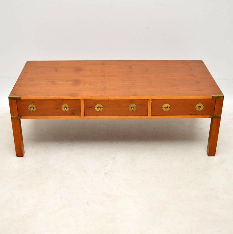 Large Antique Yew Wood Campaign Style Coffee Table For