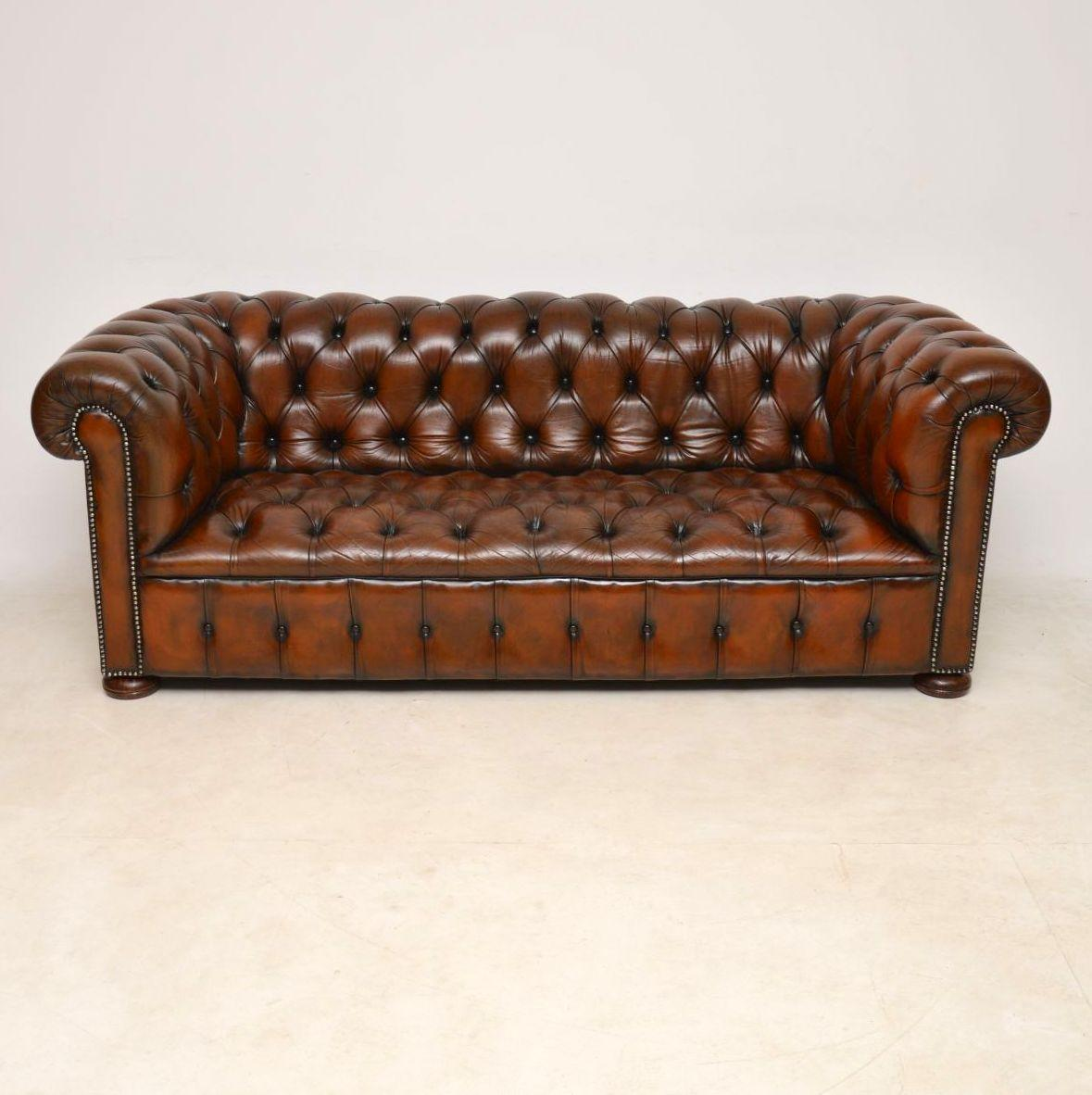 Antique Deep Buttoned Leather Chesterfield Three Seat Sofa With A Wonderful  Color And Plenty Of