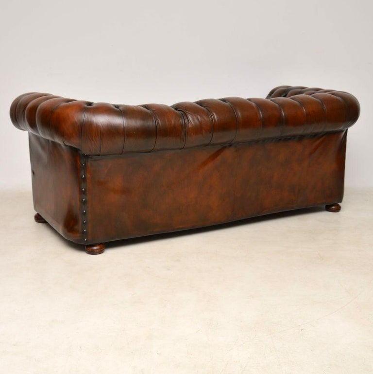 Antique Deep Oned Leather Chesterfield Sofa For 4