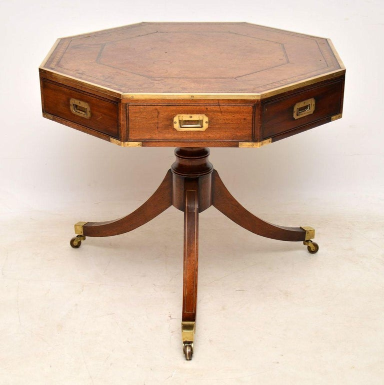 Antique Mahogany and Leather Campaign Drum Table For Sale 5