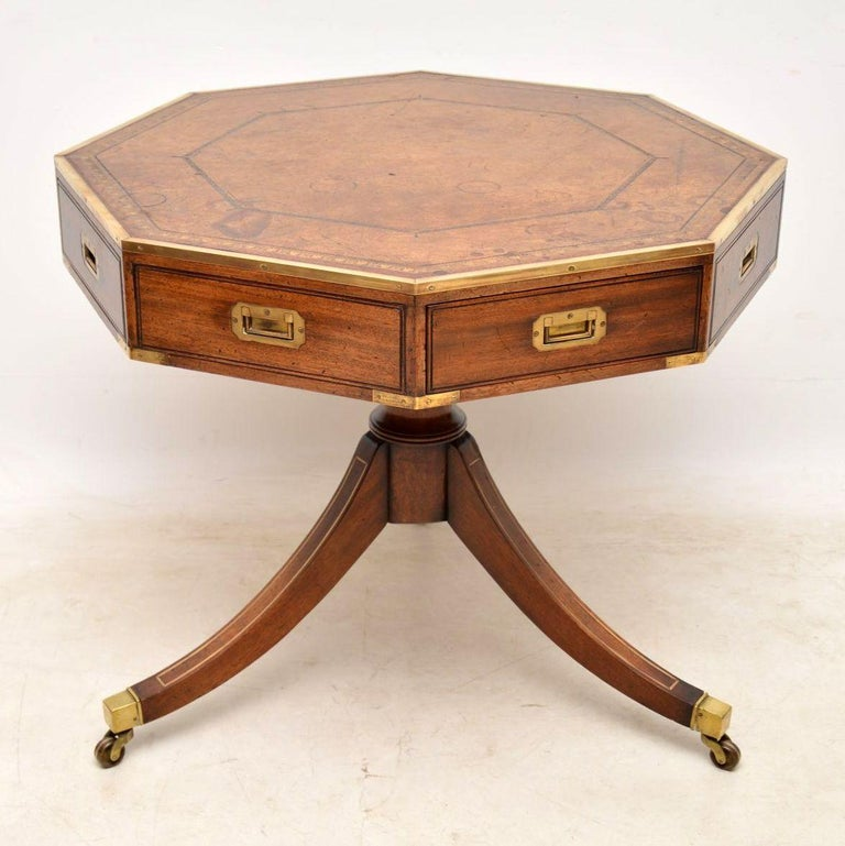 English Antique Mahogany and Leather Campaign Drum Table For Sale