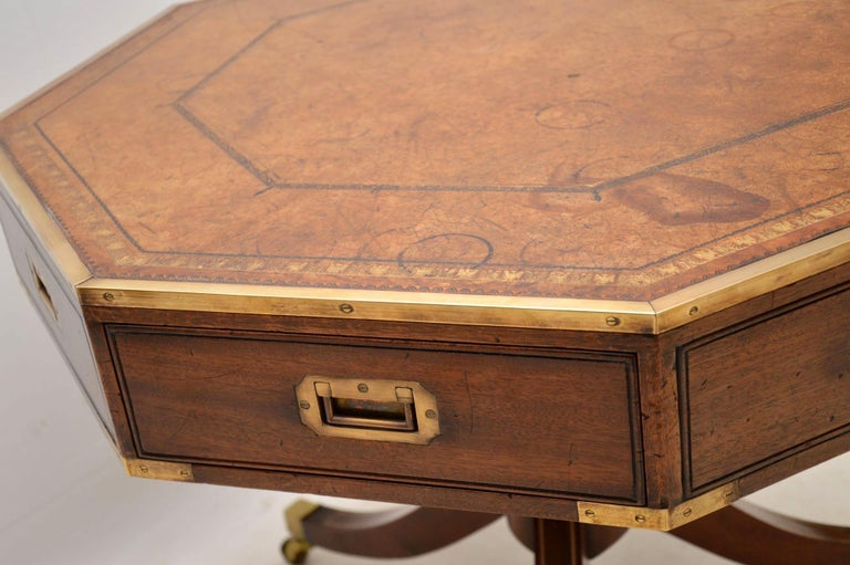 Antique Mahogany and Leather Campaign Drum Table For Sale 1