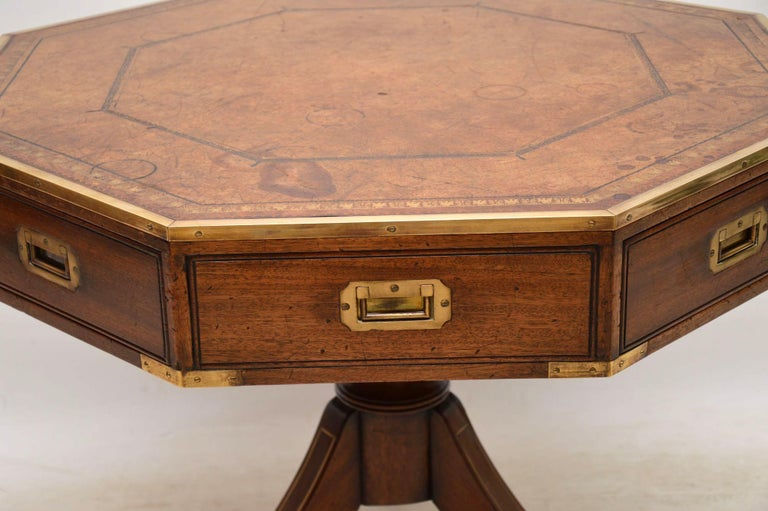 Antique Mahogany and Leather Campaign Drum Table For Sale 2