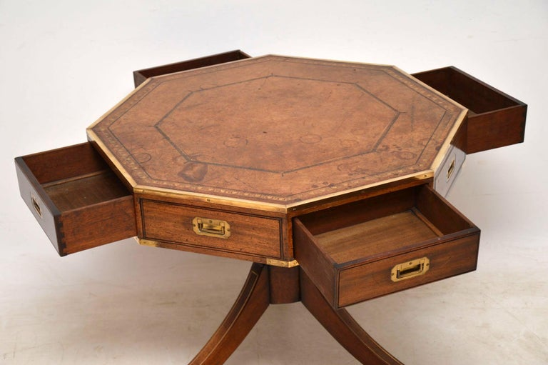 Antique Mahogany and Leather Campaign Drum Table In Excellent Condition For Sale In London, GB