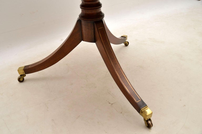 Antique Mahogany and Leather Campaign Drum Table For Sale 4