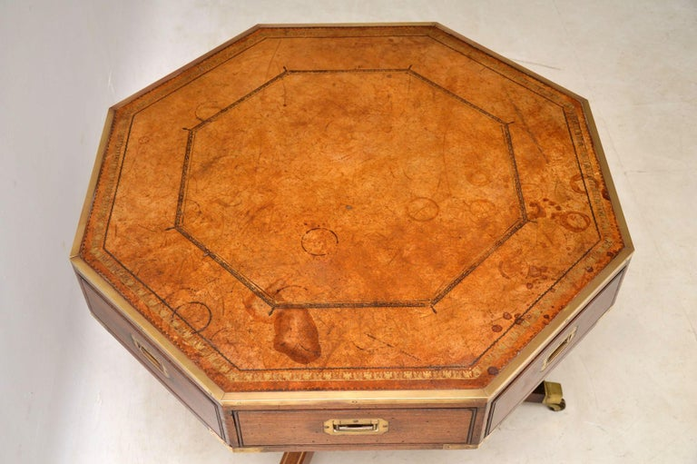 Early 20th Century Antique Mahogany and Leather Campaign Drum Table For Sale