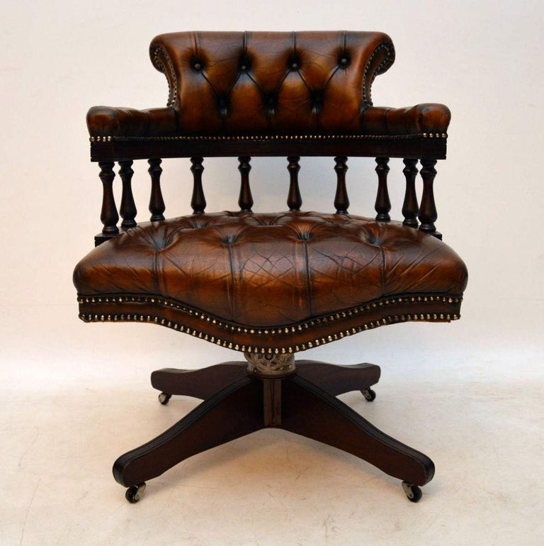 Antique Deep Oned Leather Swivel Desk Armchair In Good Original Condition The Is All