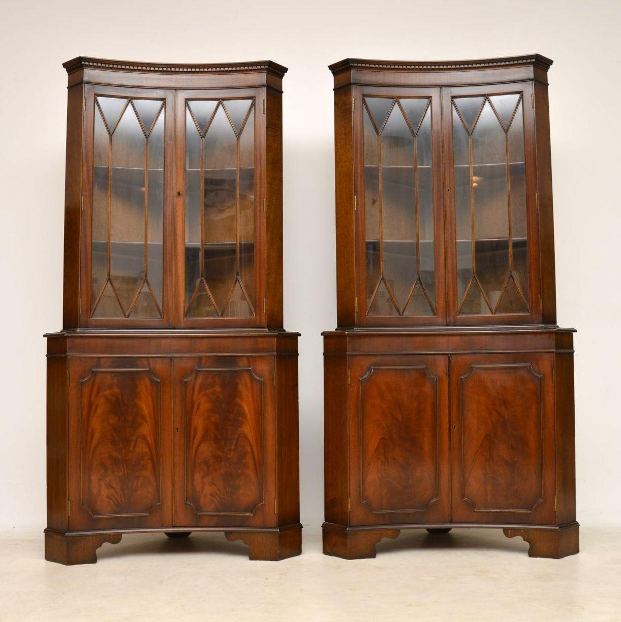 Pair Of Antique Georgian Style Mahogany Corner Cabinets With Concaved  Fronts. Itu0027s Nice To Find