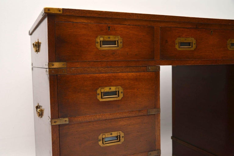 Antique Military Campaign Style Mahogany Desk For Sale 2 - Antique Military Campaign Style Mahogany Desk For Sale At 1stdibs