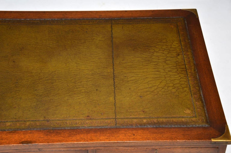 Antique Military Campaign Style Mahogany Desk For Sale 5 - Antique Military Campaign Style Mahogany Desk At 1stdibs