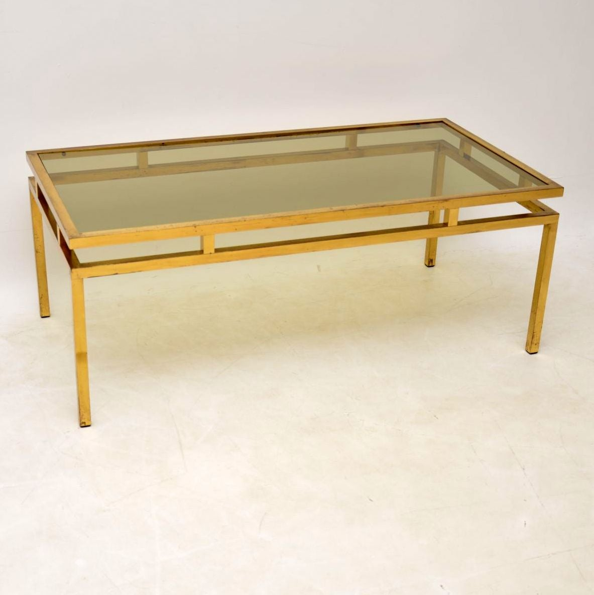 Bon 1960s Vintage French Brass And Glass Coffee Table At 1stdibs
