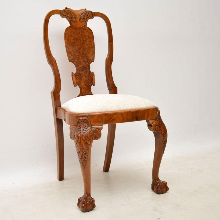 English Set Of Eight Antique Walnut Queen Anne Dining Chairs For