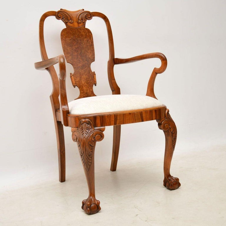 Very impressive and extremely high quality set of eight antique walnut  dining chairs, dating from - Set Of Eight Antique Walnut Queen Anne Dining Chairs For Sale At 1stdibs