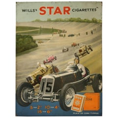 Rare Antique Brooklands Advertising Showcard Depicting Raymond Mays in His Era
