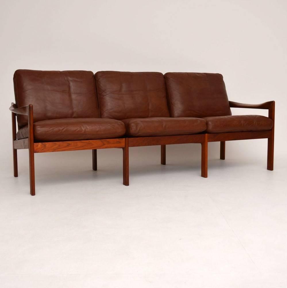 danish retro teak and leather sofa by illum wikkels