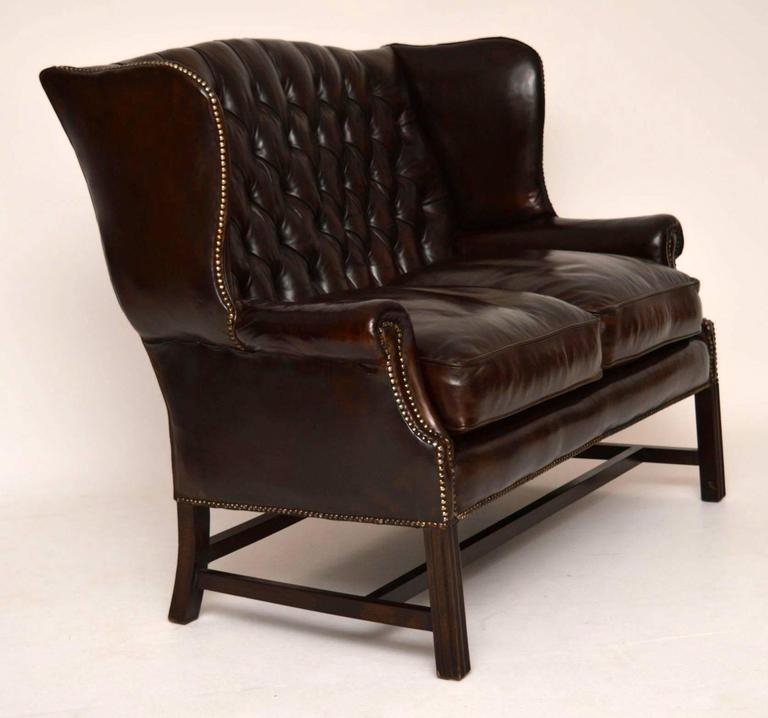 Antique deep buttoned leather wing back sofa for sale at for Deep couches for sale