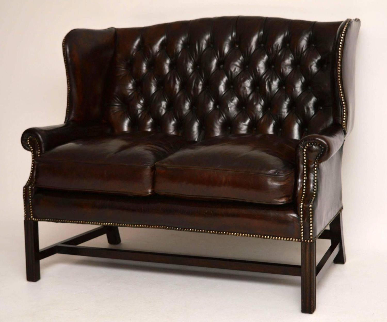 Antique deep buttoned leather wing back sofa for sale at for Deep sofas for sale