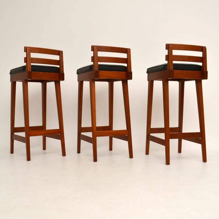 Set Of Three Danish Teak Bar Stools By Erik Buch For