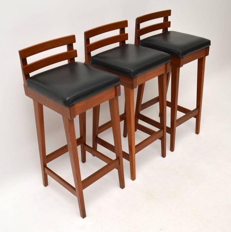 Set of Three Danish Teak Bar Stools by Erik Buch for Dyrlund ...