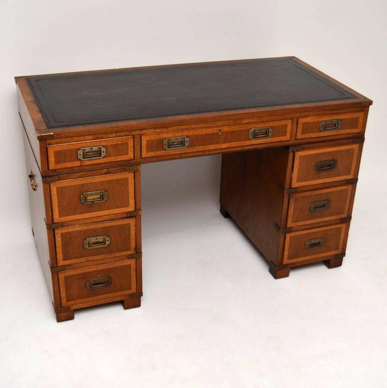 Antique Campaign Style Mahogany and Leather Pedestal Desk 2 - Antique Campaign Style Mahogany And Leather Pedestal Desk At 1stdibs
