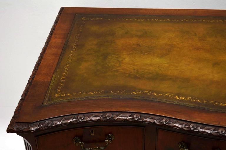 Antique carved mahogany leather top desk for sale at stdibs