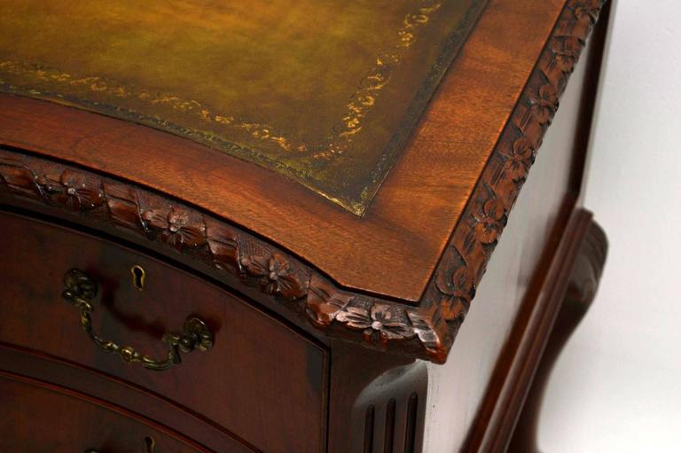 Antique Carved Mahogany Leather Top Desk 3 - Antique Carved Mahogany Leather Top Desk For Sale At 1stdibs