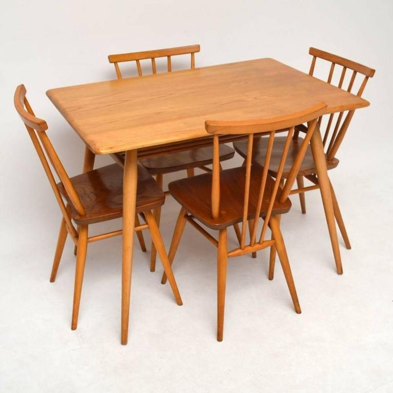 retro elm dining table and chairs by ercol vintage 1960s at 1stdibs