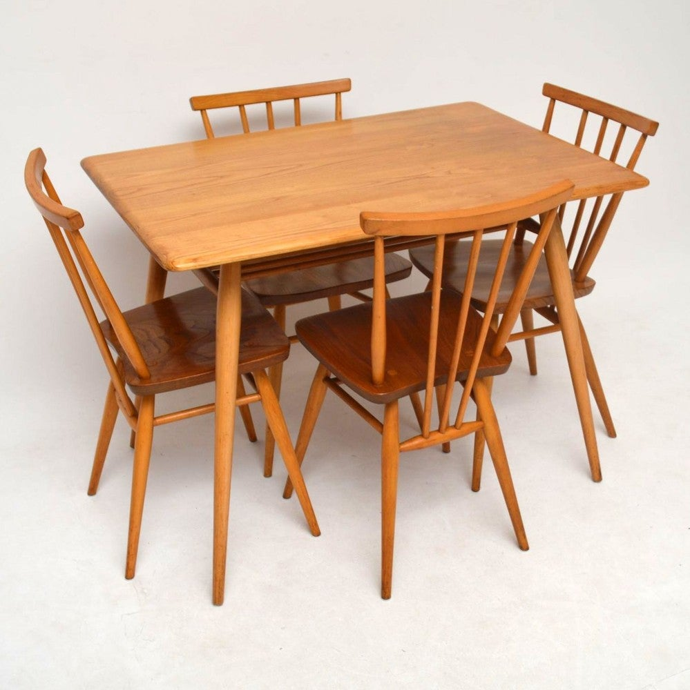 Magnificent Retro Elm Dining Table Chairs By Ercol Vintage 1960S Download Free Architecture Designs Salvmadebymaigaardcom