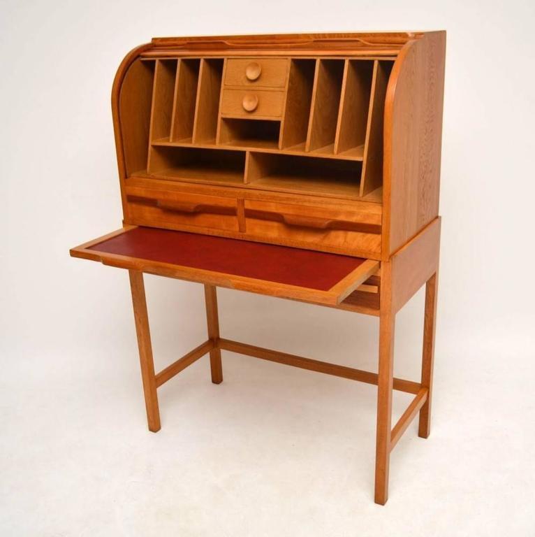 Retro Satin Wood Mahogany And Oak Roll Top Bureau Vintage