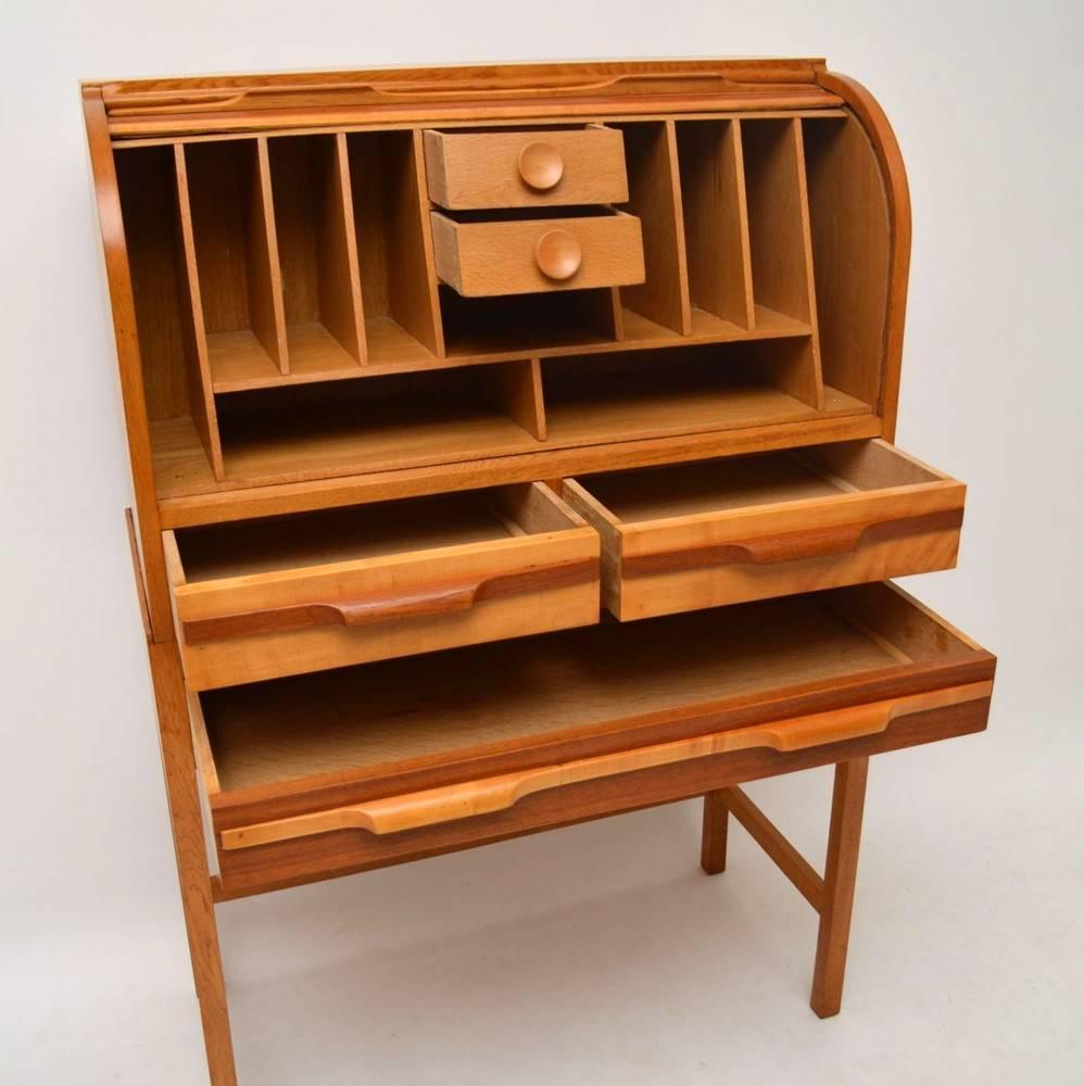 Retro Satin Wood Gany And Oak Roll Top Bureau Vintage 1950s At 1stdibs