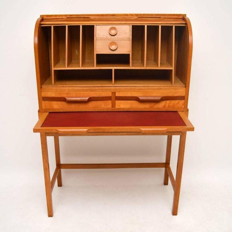 Retro Satin Wood Gany And Oak Roll Top Bureau Vintage 1950s For 3
