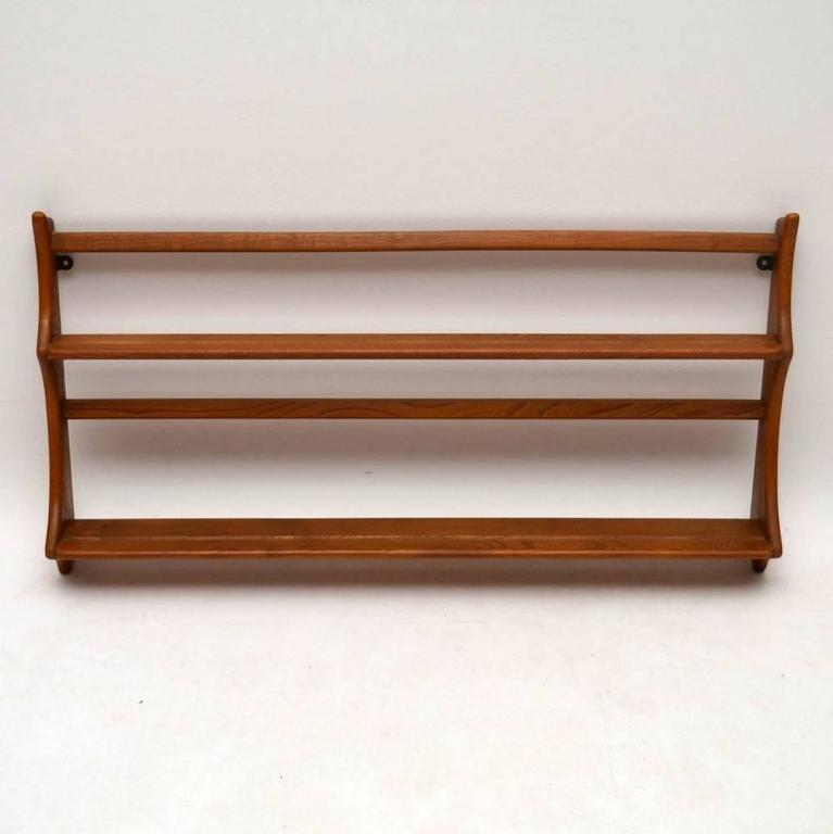 english pair of retro solid elm hanging bookshelves or plate racks by ercol vintage for sale - Hanging Bookshelves