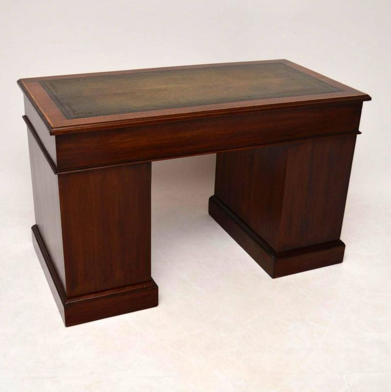 Antique Satinwood Inlaid Gany Leather Top Desk For 3