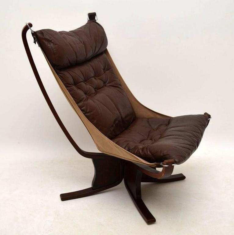 Retro Leather Falcon Chair By Sigurd Ressel Vintage
