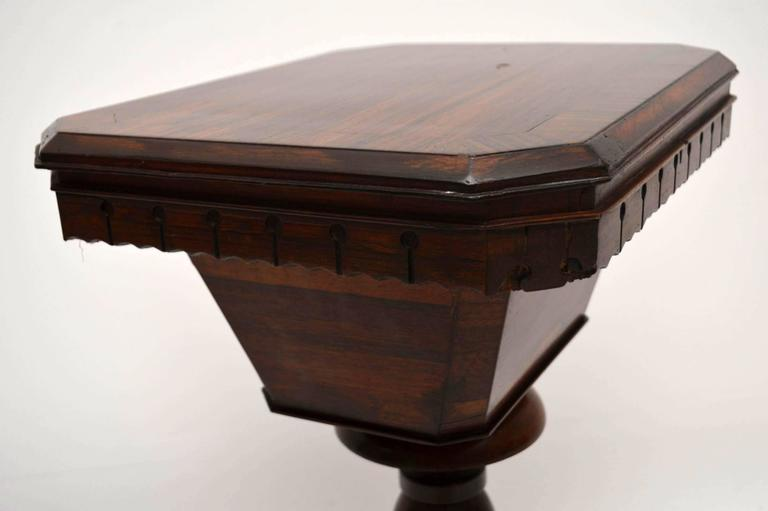Antique William IV Rosewood Sewing Box Table For Sale 3