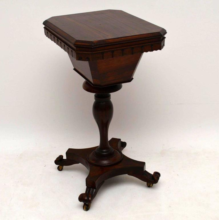 Antique William IV Rosewood Sewing Box Table For Sale 4