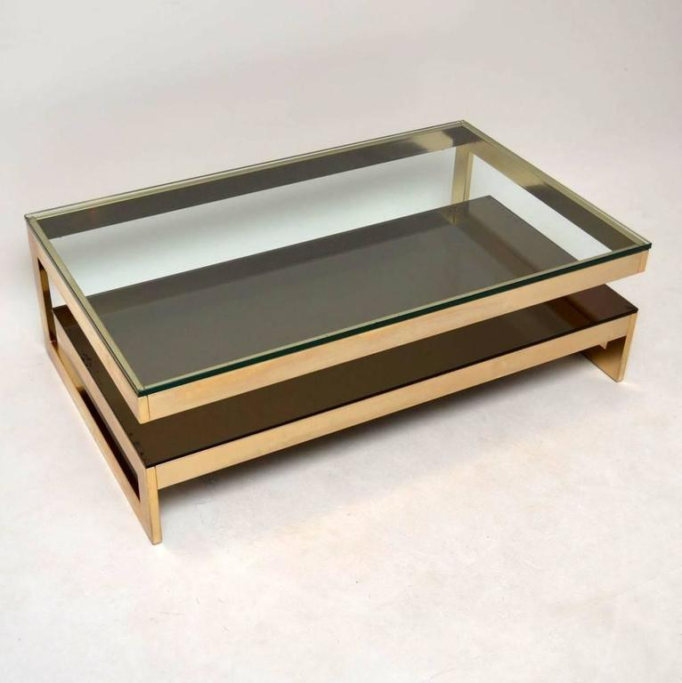 Gold Plated Coffee Table: Retro Gold-Plated Coffee Table By Belgochrom Vintage