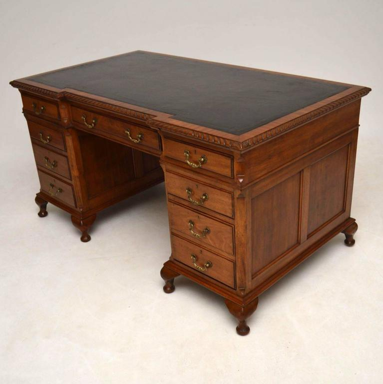 English Large Antique Mahogany Leather Top Pedestal Desk For Sale - Large Antique Mahogany Leather Top Pedestal Desk At 1stdibs