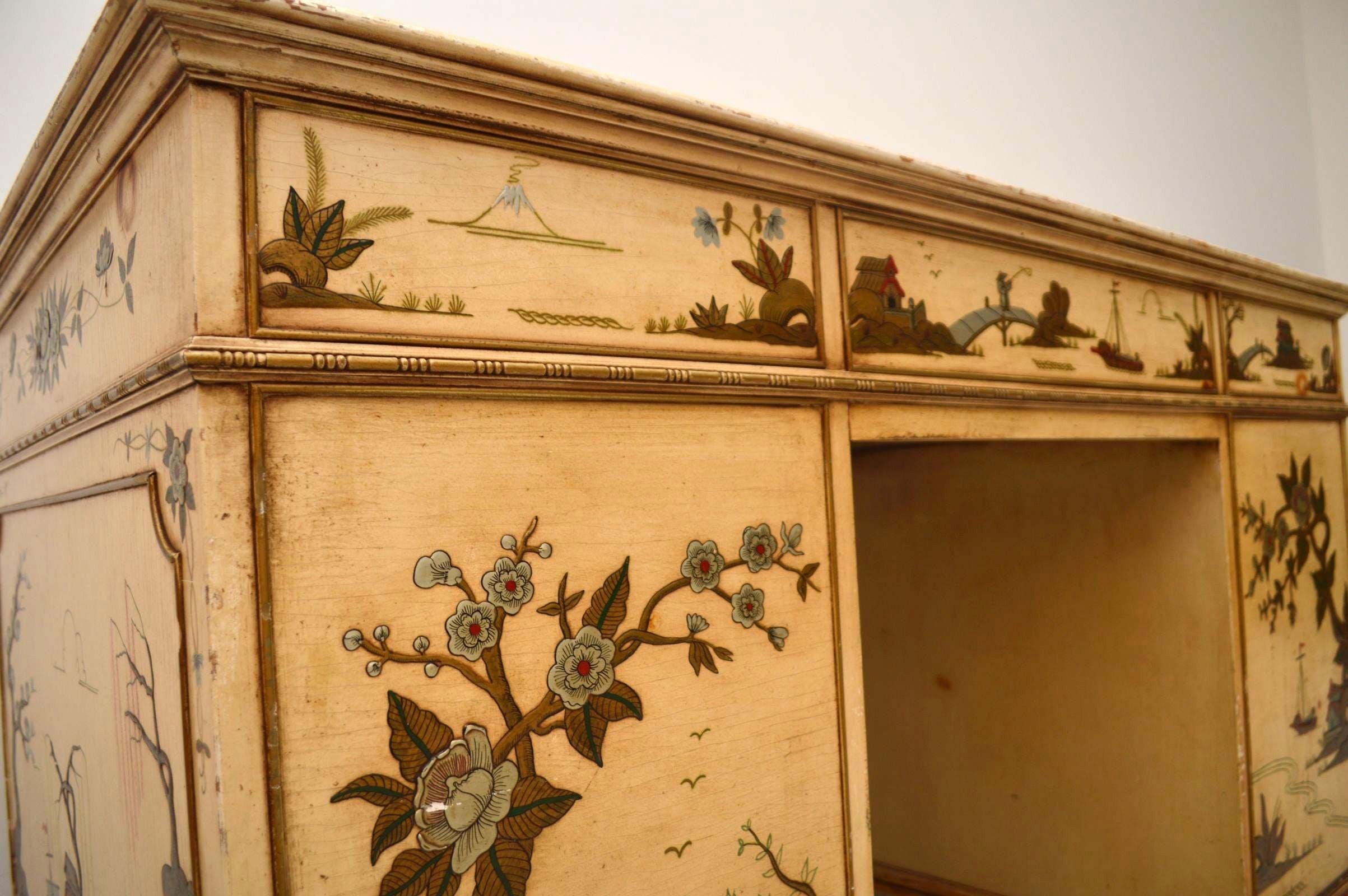 Antique Chinoiserie Pedestal Desk at 1stdibs