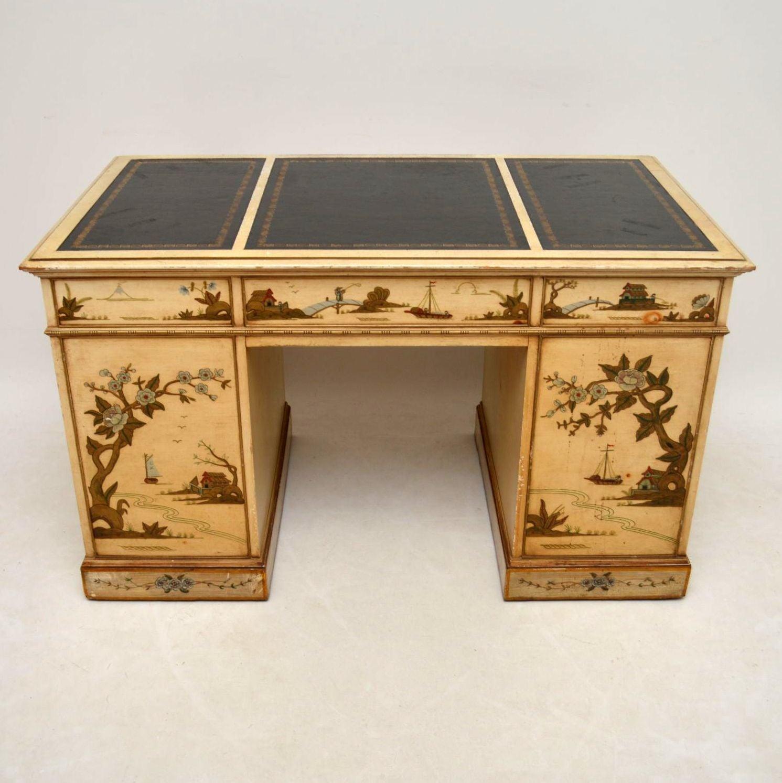 - Antique Chinoiserie Pedestal Desk At 1stdibs