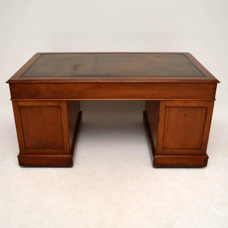 Large Antique Victorian Mahogany Pedestal Desk At 1stdibs