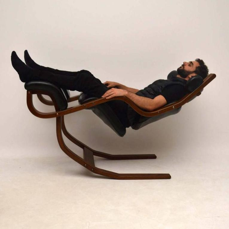 Leather and bentwood gravity balans armchair by peter opsvik for stokke at 1stdibs - Gravity balans ...