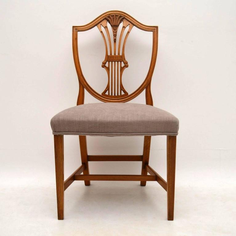 Shield Back Dining Room Chairs: Set Of Ten Antique Mahogany Shield Back Dining Chairs At