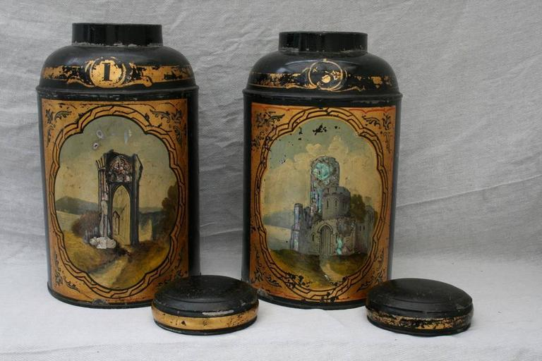 Antique Tea Tin Canisters with Mother of Pearl Scenes of