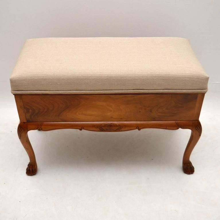 Very Practicable Antique Walnut Duet Piano Stool With Loads Of Storage  Inside Beneath The Upholstered Seat