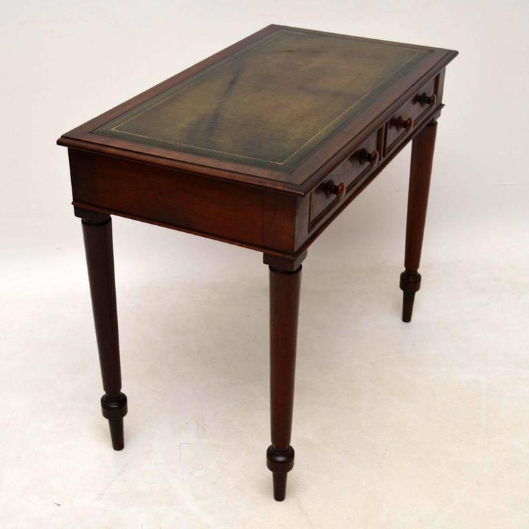 Antique Victorian Mahogany Leather Top Writing Table Desk For Sale 2 - Antique Victorian Mahogany Leather Top Writing Table Desk At 1stdibs