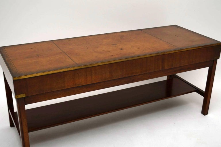Large Antique Campaign Style Mahogany Coffee Table At 1stdibs