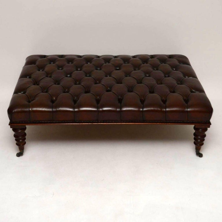 Antique Large Deep Buttoned Leather Stool For Sale At 1stdibs
