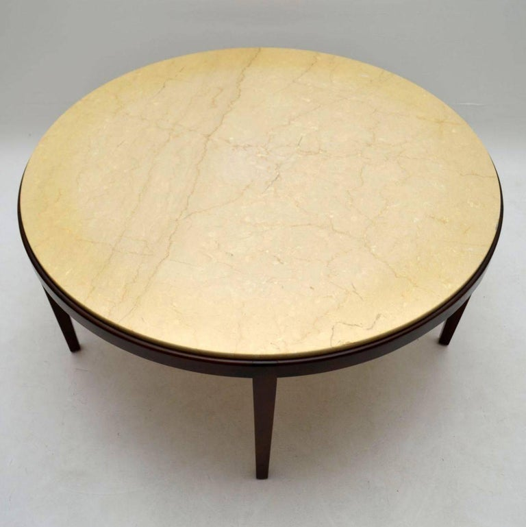 Danish Retro Rosewood And Marble Coffee Table For 3